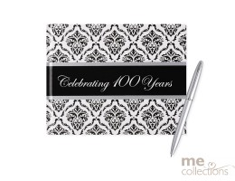 'Celebrating 100' Hang Sell Guest Book - Damask