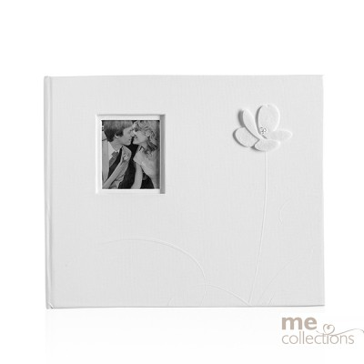 Guest Book with Embossed Flower  in White - Unit of 1