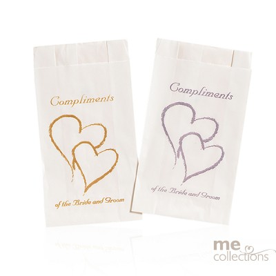 Cake Bags Twin Hearts With Compliments Silver