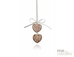 Double Miniature Metal Hearts in Rose Gold (NEW)