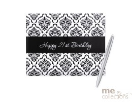 '21st Birthday' Hang Sell Guest Book - Damask