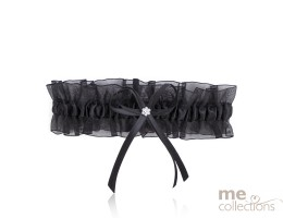 Black Organza Garter with Bow