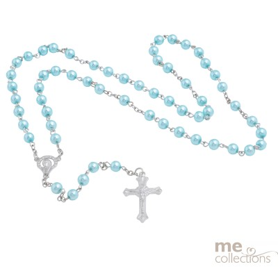 Blue Pearls Rosary Beads