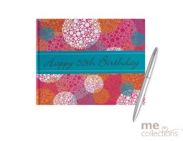 50th Birthday Pink and Orange Guest Book