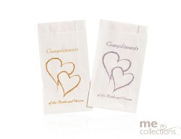 Cake bags - Twin Hearts with Compliments GOLD