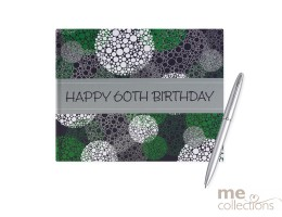 60th Birthday Green and Grey Guest Book
