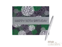 '50th Birthday' Hang Sell Guest Book - Blue/Green