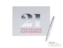 '21st Birthday' Hang Sell Guest Book - Pink + Foil