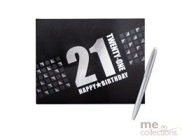 '21st Birthday' Hang Sell Guest Book - Black + Foil