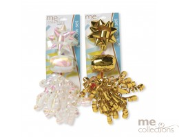 Ribbon Gift Bow Set Gold/White - Unit of 24