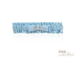 Blue Satin Garter with Diamante