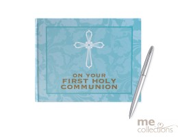 First Holy Communion Blue and Gold Guest Book
