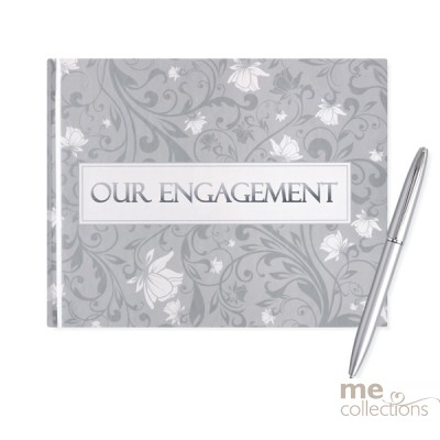 Our Engagement Silver Design Guest Book