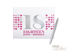 '18th Birthday' Hang Sell Guest Book - Pink + Foil