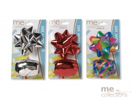 Ribbon Gift Bow Set Red/Silver - Unit of 24