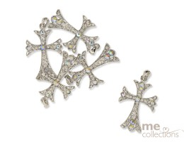 Diamante Cross Charms - Unit of 25