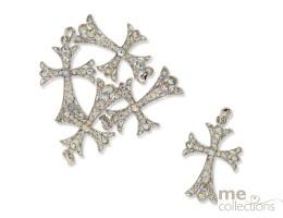 Diamante Cross Charms - Unit of 25