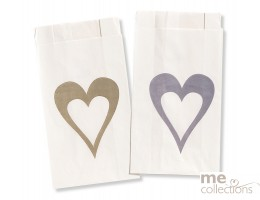 Cake bags BULK - Single Heart SILVER CB43
