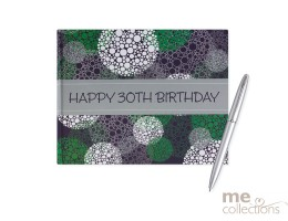 '30th Birthday' Hang Sell Guest Book - Blue/Green
