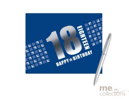 '18th Birthday' Hang Sell Guest Book - Blue + Foil