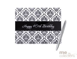 '40th Birthday' Hang Sell Guest Book - Damask