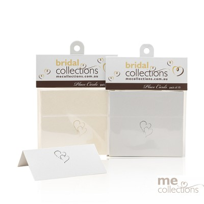 Place Cards Embossed Twin Hearts