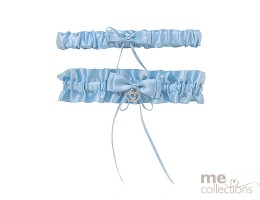 Blue Satin and Diamante Double Garter Set