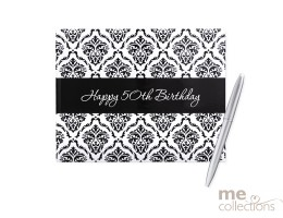 50th Birthday Damask Guest Book