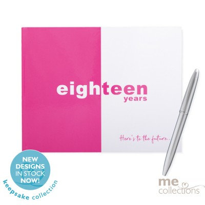 'Eighteen Years' Hang Sell Guest Book Pink