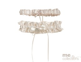 Ivory Satin and Diamante Double Garter Set