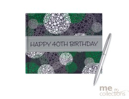 '40th Birthday' Hang Sell Guest Book - Blue/Green